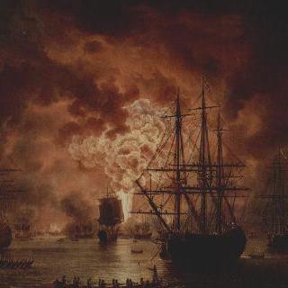 체슈메 해전에서 침몰하는 터키 함대