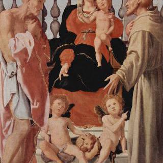 성 프란체스코, 성 히에로니무스와 함께 있는 성모