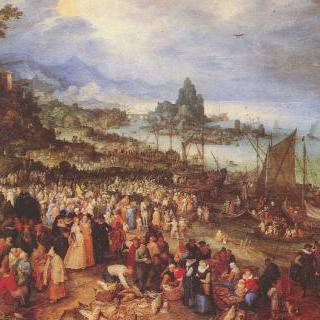 그리스도가 설교를 하고 있는 항구