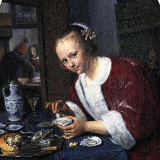 굴을 먹는 소녀