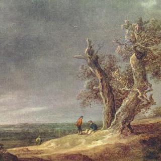 떡갈나무 두 그루가 있는 풍경