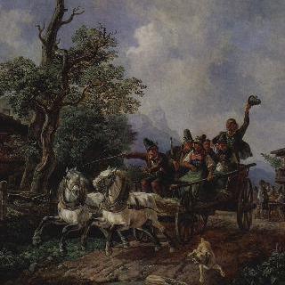 농부들의 마차가 있는 풍경
