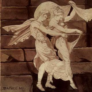 파리스를 메넬라오스와 결투시키는 아프로디테