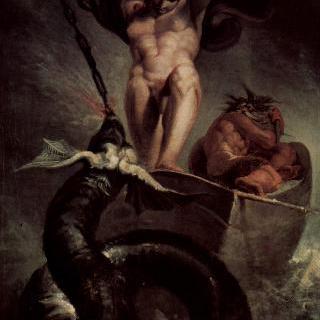 미드가르드의 뱀과 싸우는 토르