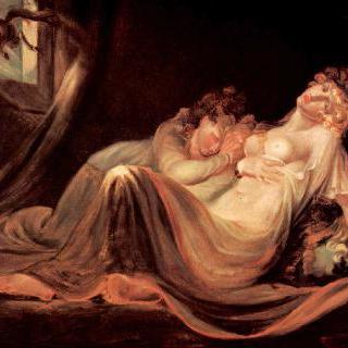 잠자는 두 처녀를 떠나가는 몽마 (夢魔)