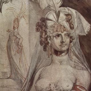 머리에 깃털 장식과 리본을 달고 베일을 쓴 고급창녀의 반신상