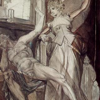 감금된 군터에게 니벨룽의 반지를 보여주는 크림힐트