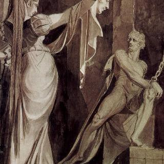 하겐에게 군터의 머리를 보여주는 크림힐트