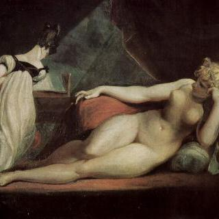 벌거벗고 누워있는 여인과 피아노 치는 여인