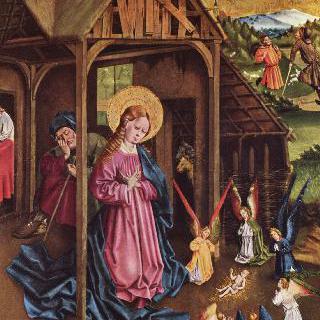 마리엔펠트 제단화, 왼쪽 날개의 안쪽 하단 좌측 그림 : 그리스도의 탄생