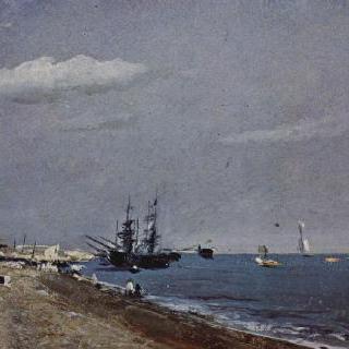 범선이 있는 브라이튼 해변 (브라이튼 앞바다의 석탄선)