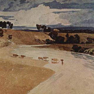 가축떼가 있는 강 풍경