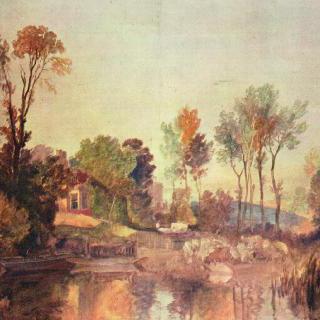 나무와 양들이 있는 강가의 집