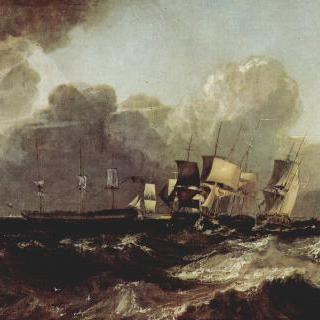 바람에 지그재그로 항진하며 정박하러 가는 배들 (에거먼트 바다 그림)