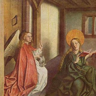 마리아 제단화, 제단화 한쪽 날개의 바깥면 : 수태고지