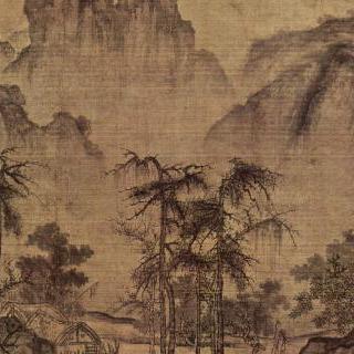 산과 계곡 위로 청명한 가을 하늘