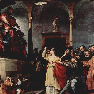 성 루치아 제단화, 패널 : 재판관 앞의 성 루치아