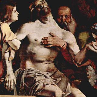 레카나티의 다폭제단화, 메인패널의 꼭대기 장식 : 천사들의 피에타