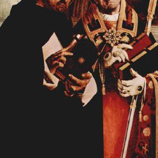레카나티의 다폭제단화, 왼쪽 날개 : 성 토마스 아퀴나스와 성 플라비아노