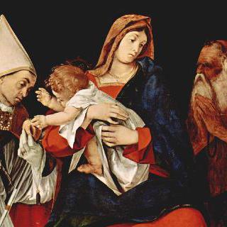 주교와 성 오누프리우스와 함께 있는 성모