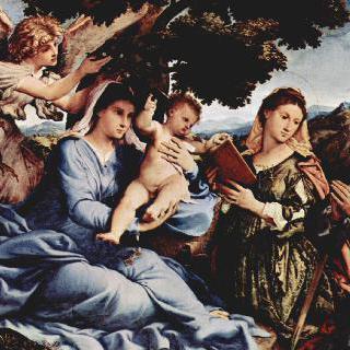 알렉산드리아의 성 카타리나, 성 대 (大) 야고보 및 천사와 함께 있는 마리아
