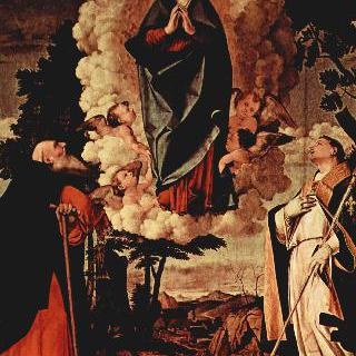 팔라 디 아솔로, 메인패널 : 승천하는 마리아와 성 안토니오 아바테, 툴루즈의 성 루이