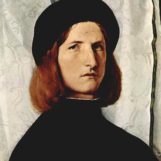 램프와 함께 있는 젊은 남자의 초상