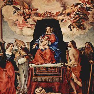 왕좌에 앉아있는 성모, 천사와 성인들