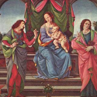 마리아와 아기예수 및 두 명의 성인