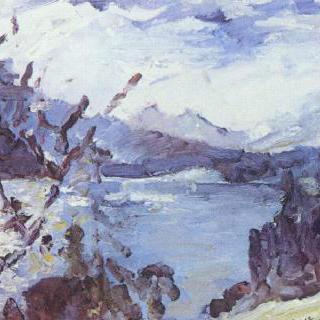 연봉들과 호숫가비탈이 보이는 발헨 호수