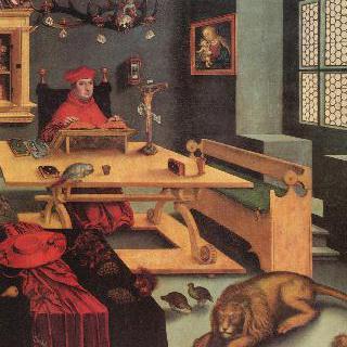 집에 있는 히에로니무스의 모습을 한 알브레히트 폰 브란덴부르크 추기경의 초상