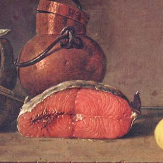 정물 : 잘린 연어, 레몬과 그릇 세 개