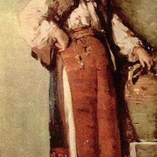 항아리와 함께 있는 시골여인