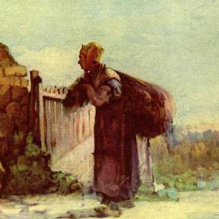 등에 자루를 멘 프랑스 시골여인