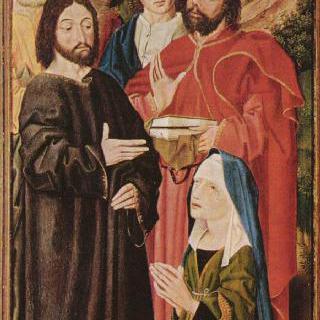 라자로의 부활, 세 폭 제단화, 왼쪽 날개 안쪽 : 그리스도와 성 마르다