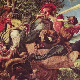 안토니우스 제단화, 왼쪽 날개 바깥쪽 : 성 안토니우스를 괴롭히는 마귀들