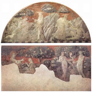 동물들의 창조와 아담의 창조, 벽면의 그림 : 이브의 창조와 원죄 (일부 조각)