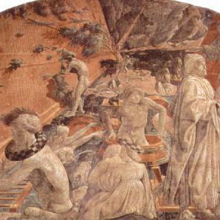 구약성서 창세기를 그린 프레스코화 연작 : 대 홍수와 범람한 물 위를 떠다니는 방주
