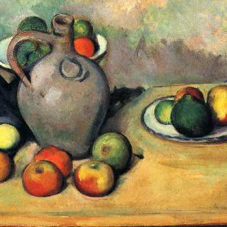 정물, 탁자 위의 항아리와 과일들