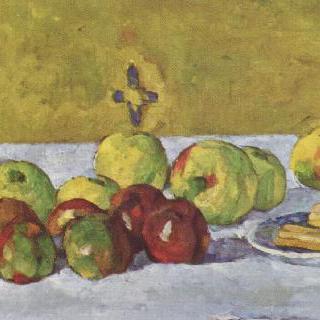 사과와 비스킷이 있는 정물