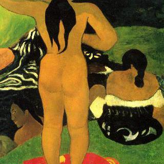 해변의 타히티 여인들