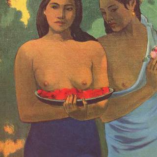 망고꽃을 든 두 타히티 여인