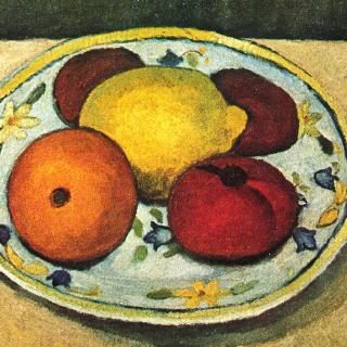 레몬, 오렌지, 토마토가 있는 정물