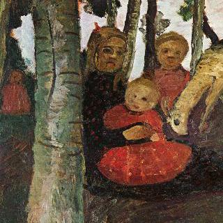 자작나무 숲에서 염소와 함께 있는 세 아이