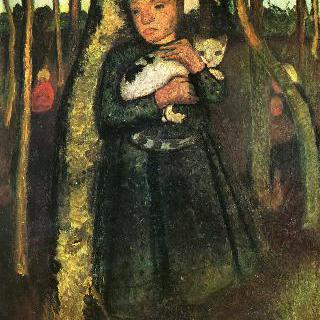 자작나무 숲에서 고양이를 안고 있는 소녀