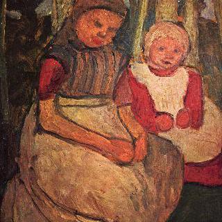 자작나무 숲에 앉아 있는 두 소녀