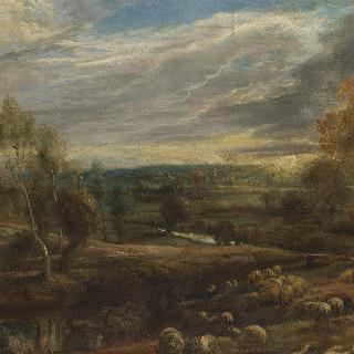 양치기와 양떼가 있는 저녁 풍경