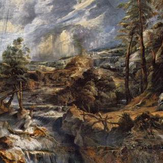 필레몬과 바우키스가 있는 뇌우 풍경