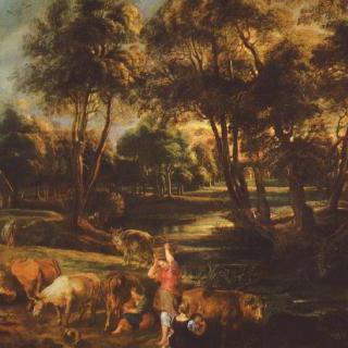 암소와 오리사냥꾼이 있는 풍경