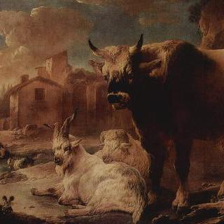 가축떼가 있는 풍경
